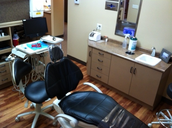Dental exam room and dental patient chair and equipment