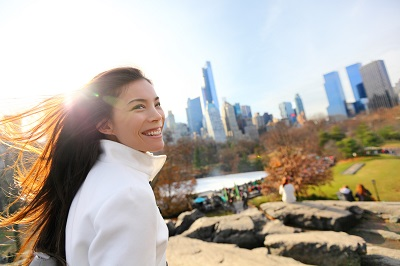 asian woman at central park in new york city