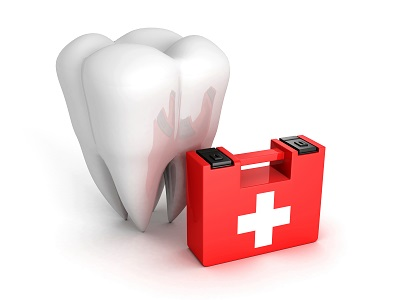 Healthy Tooth And Medical Kit on white background