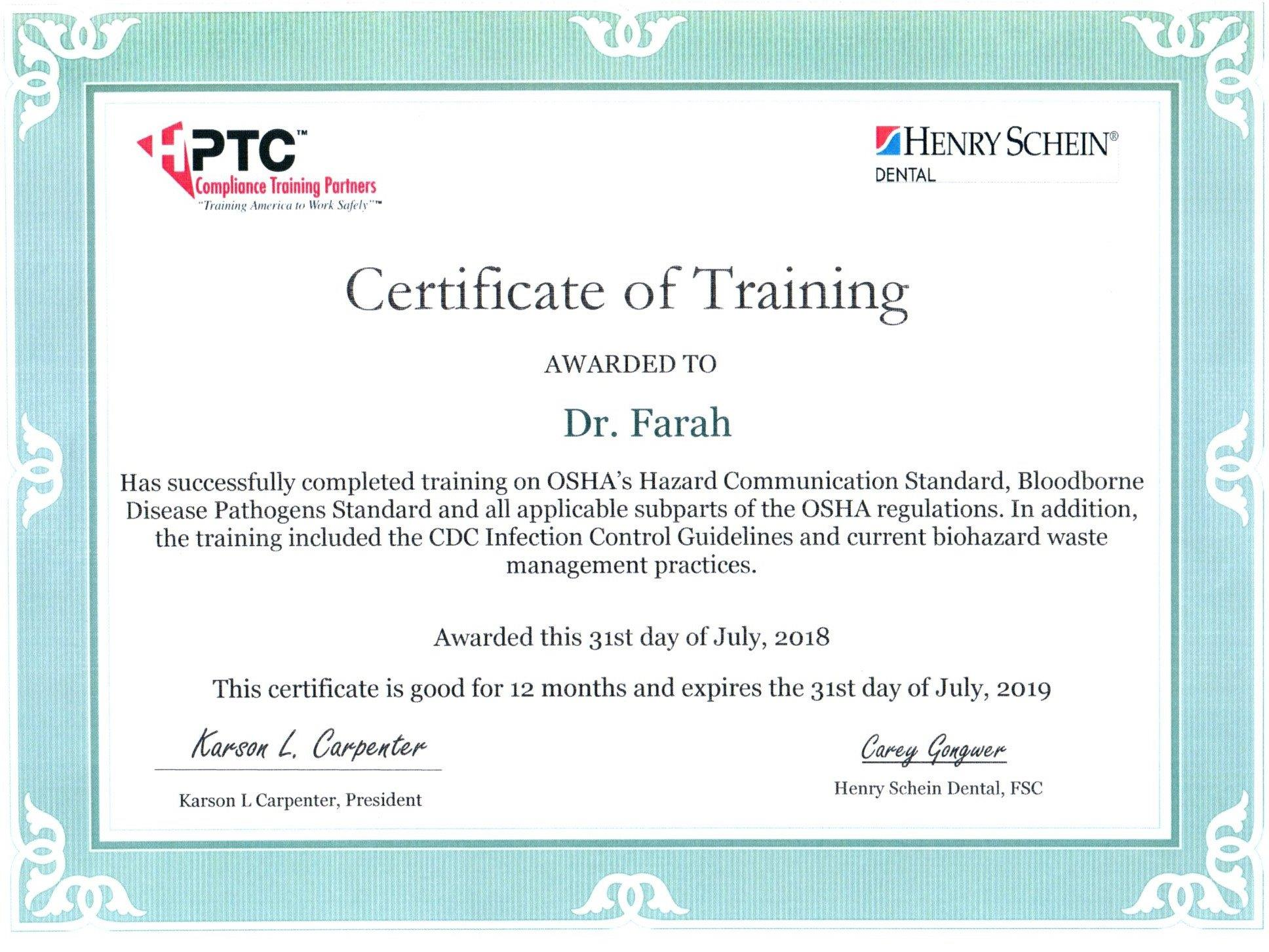 PTC Safety Certificate