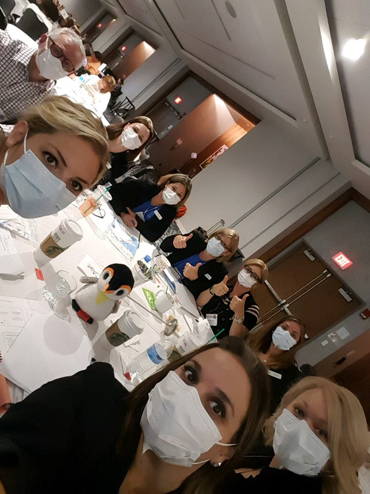 Team with surgical masks on