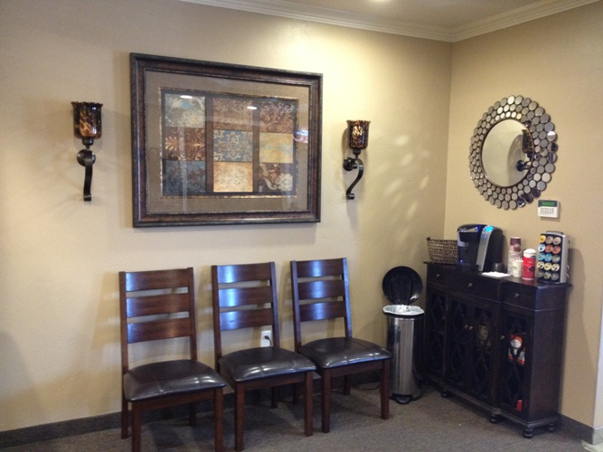 Coffee bar area at Gallagher Orthodontics in Grapevine, Texas