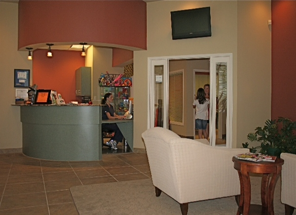 The lobby at Gallagher Orthodontics in Coppell, Texas