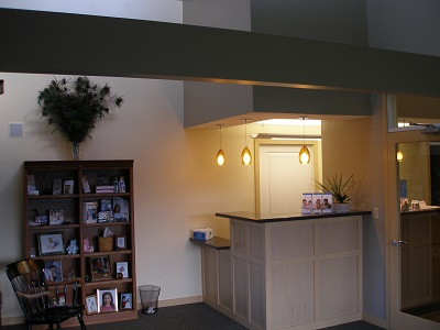 reception desk of modern family dentistry