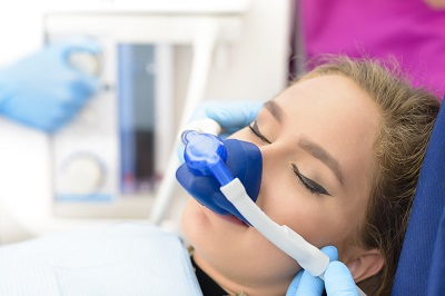 woman getting nitrous oxide sedation