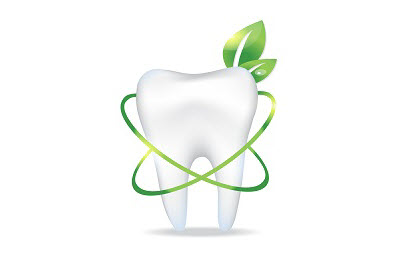 3d render of tooth with leaf