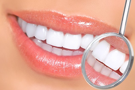 close up of healthy white smile