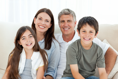 Picture of a family with healthy teeth