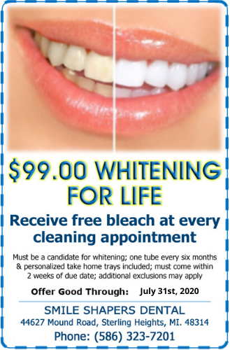 $99 teeth whitening for life smile shapers dental sterling heights mi