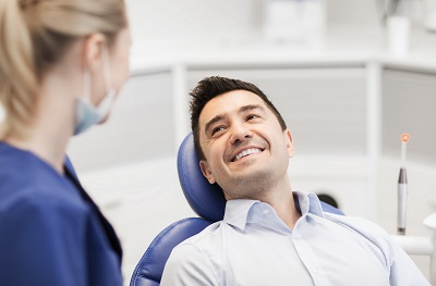 happy patient at dental chair