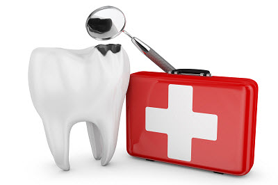 3d render of tooth with decay and emergency kit