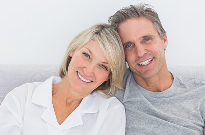 mature couple with bright smile