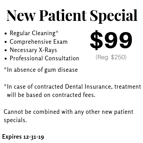 New Patient Special. $99 for cleaning, exam, x-ray, and consultation in absence of gum disease. contact for details