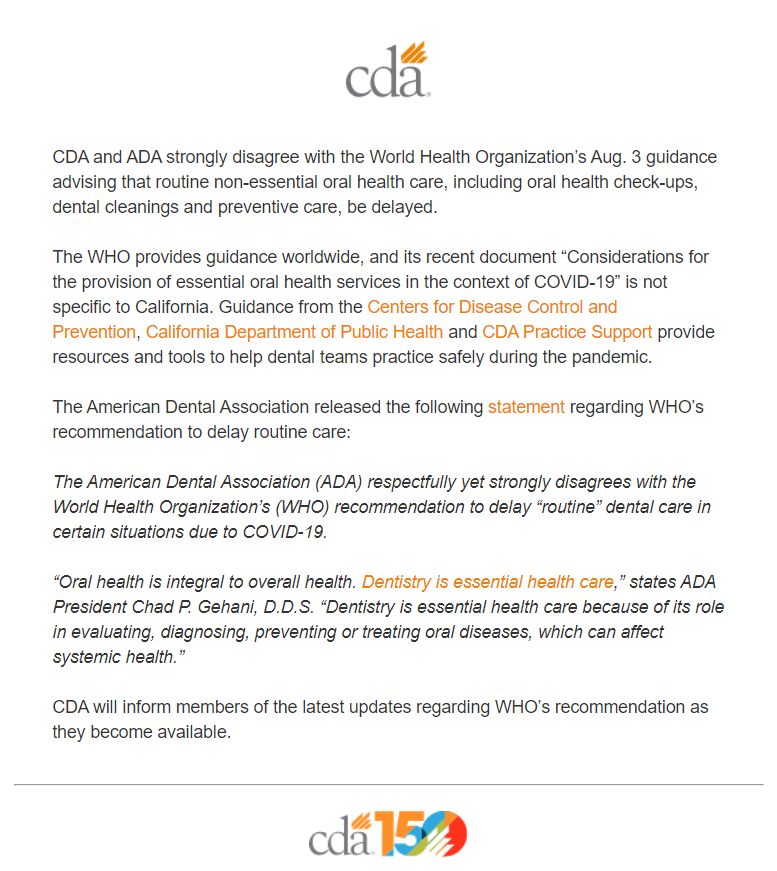 CDA response to WHO recommendation about dentistry being essential health care