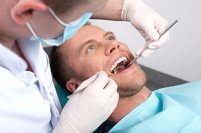 Patient getting a dental exam