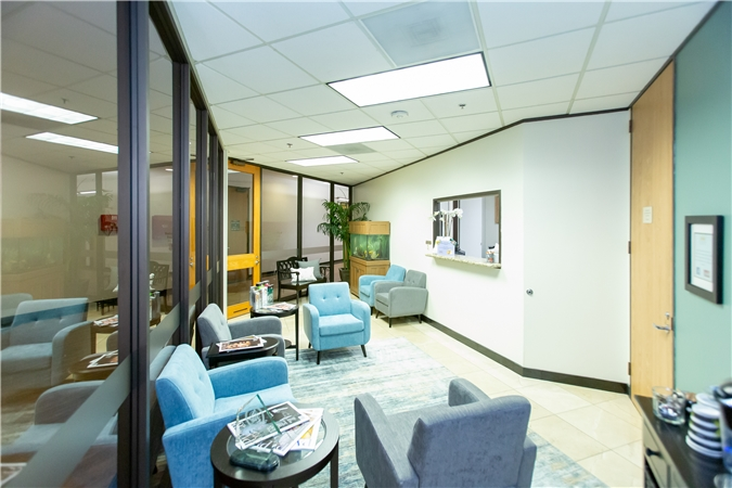 Houstonian Dental's modern reception area at our dental office in Houston Texas.