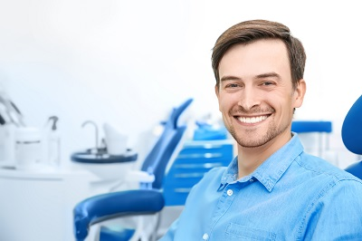 Male patient at dentist's office